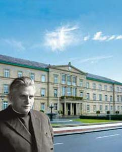 Joseph Ratzinger and, in the background, the University of Tübingen
